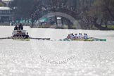 The Women's Boat Race and Henley Boat Races 2014: The Women's Reserves - Osiris v. Blondie race. Osiris (Oxford) on the left,  and Blondie (Cambridge) are still quite close together.. River Thames, Henley-on-Thames, Buckinghamshire, United Kingdom, on 30 March 2014 at 14:16, image #142
