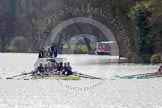 The Women's Boat Race and Henley Boat Races 2014: The Women's Reserves - Osiris v. Blondie race. Osiris (Oxford) with cox Olivia Cleary, stroke Hannah Roberts, 7 Claire Jamison, 6 Elo Luik, 5 Chloe Farrar, 4 Hannah Baddock, 3 Rhianna Cearns, 2 Hannah Ledbury, bow Dora Amos.. River Thames, Henley-on-Thames, Buckinghamshire, United Kingdom, on 30 March 2014 at 14:16, image #144