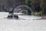 The Women's Boat Race and Henley Boat Races 2014: The Women's Reserves - Osiris v. Blondie race. Osiris (Oxford) on the left,  and Blondie (Cambridge) are still quite close together.. River Thames, Henley-on-Thames, Buckinghamshire, United Kingdom, on 30 March 2014 at 14:16, image #145