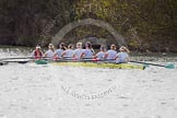 The Women's Boat Race and Henley Boat Races 2014: The Women's Reserves - Osiris v. Blondie race. Blondie (Cambridge) with cox Will McDermott, stroke Hannah Evans, 7 Nicole Stephens, 6 Sarah Crowther, 5 Hannah Roberts, 4 Gabriella Johannson, 3 Anouska Bartlett, 2 Sara Lackner, bow Tamsin Samuels.. River Thames, Henley-on-Thames, Buckinghamshire, United Kingdom, on 30 March 2014 at 14:16, image #149