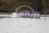 The Women's Boat Race and Henley Boat Races 2014: The Women's Reserves - Osiris v. Blondie race. Osiris (Oxford) on the left,  and Blondie (Cambridge) are quite close together again.. River Thames, Henley-on-Thames, Buckinghamshire, United Kingdom, on 30 March 2014 at 14:16, image #150