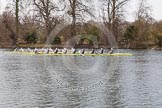 The Women's Boat Race and Henley Boat Races 2014: The Women's Reserves - Osiris v. Blondie race. Osiris (Oxford) is now ahead of Blondie (Cambridge).. River Thames, Henley-on-Thames, Buckinghamshire, United Kingdom, on 30 March 2014 at 14:16, image #160