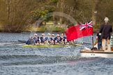 The Women's Boat Race and Henley Boat Races 2014: The Women's Reserves - Osiris v. Blondie race. Osiris (Oxford), in the lead, is passing the press launch.. River Thames, Henley-on-Thames, Buckinghamshire, United Kingdom, on 30 March 2014 at 14:17, image #173
