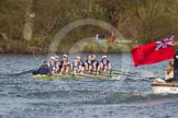 The Women's Boat Race and Henley Boat Races 2014: The Women's Reserves - Osiris v. Blondie race. Osiris (Oxford), in the lead, is passing the press launch.. River Thames, Henley-on-Thames, Buckinghamshire, United Kingdom, on 30 March 2014 at 14:17, image #174