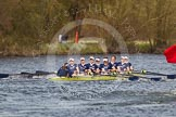 The Women's Boat Race and Henley Boat Races 2014: The Women's Reserves - Osiris v. Blondie race. Osiris (Oxford), in the lead, is passing the press launch.. River Thames, Henley-on-Thames, Buckinghamshire, United Kingdom, on 30 March 2014 at 14:17, image #175