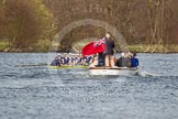 The Women's Boat Race and Henley Boat Races 2014: The Women's Reserves - Osiris v. Blondie race. Osiris (Oxford), in the lead, is followed by the press launch towards the finish line.. River Thames, Henley-on-Thames, Buckinghamshire, United Kingdom, on 30 March 2014 at 14:17, image #176
