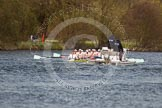 The Women's Boat Race and Henley Boat Races 2014: The Women's Reserves - Osiris v. Blondie race. Blondie (Cambridge) has fallen befind Osiris, and is followed by the umpire's launch.. River Thames, Henley-on-Thames, Buckinghamshire, United Kingdom, on 30 March 2014 at 14:17, image #177