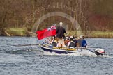 The Women's Boat Race and Henley Boat Races 2014: The Women's Reserves - Osiris v. Osiris behind the press launch behind the RLSS Lifeguards RIB.. River Thames, Henley-on-Thames, Buckinghamshire, United Kingdom, on 30 March 2014 at 14:17, image #178
