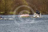 The Women's Boat Race and Henley Boat Races 2014: The Women's Reserves - Osiris v. Blondie race. Blondie (Cambridge) is approaching the finish line.. River Thames, Henley-on-Thames, Buckinghamshire, United Kingdom, on 30 March 2014 at 14:18, image #179