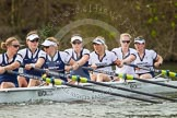 The Women's Boat Race and Henley Boat Races 2014: The Oxford Blue Boat just paddling up the river before the start of the 2014 Newton Women's Boat Race: 7 Anastasia Chitty, 6 Laura Savarese, 5 Nadine Graedel Iberg, 4 Lauren Kedar, 3 Maxie Scheske, 2 Alice Carrington-Windo, bow Elizabeth Fenje.. River Thames, Henley-on-Thames, Buckinghamshire, United Kingdom, on 30 March 2014 at 14:23, image #184