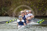 The Women's Boat Race and Henley Boat Races 2014: Before the start of the Women's Boat Race, the Oxford crew is warming up: Cox Erin Wysocki-Jones, stroke Amber de Vere, 7 Anastasia Chitty, 6 Laura Savarese, 5 Nadine Graedel Iberg, 4 Lauren Kedar, 3 Maxie Scheske, 2 Alice Carrington-Windo, bow Elizabeth Fenje.. River Thames, Henley-on-Thames, Buckinghamshire, United Kingdom, on 30 March 2014 at 14:23, image #185