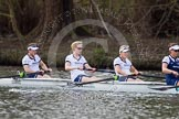 The Women's Boat Race and Henley Boat Races 2014: Before the start of the Women's Boat Race, the Oxford crew is warming up: Bow Elizabeth Fenje, 2 Alice Carrington-Windo, 3 Maxie Scheske, 4 Lauren Kedar.. River Thames, Henley-on-Thames, Buckinghamshire, United Kingdom, on 30 March 2014 at 14:24, image #186
