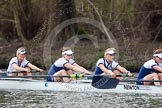 The Women's Boat Race and Henley Boat Races 2014: Before the start of the Women's Boat Race, the Oxford crew is warming up: 3 Maxie Scheske, 4 Lauren Kedar, 5 Nadine Graedel Iberg, 6 Laura Savarese.. River Thames, Henley-on-Thames, Buckinghamshire, United Kingdom, on 30 March 2014 at 14:24, image #187