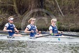 The Women's Boat Race and Henley Boat Races 2014: Before the start of the Women's Boat Race, the Oxford crew is warming up: 6 Laura Savarese, 7 Anastasia Chitty, stroke Amber de Vere.. River Thames, Henley-on-Thames, Buckinghamshire, United Kingdom, on 30 March 2014 at 14:24, image #188