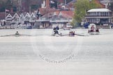 The Women's Boat Race and Henley Boat Races 2014: The Lightweight Women's Boat Race - Oxford, on the right, is leading. Between the boats the umpire's launch.. River Thames, Henley-on-Thames, Buckinghamshire, United Kingdom, on 30 March 2014 at 14:47, image #214