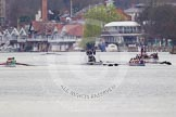 The Women's Boat Race and Henley Boat Races 2014: The Lightweight Women's Boat Race - Oxford, on the right, is leading. Between the boats the umpire's launch.. River Thames, Henley-on-Thames, Buckinghamshire, United Kingdom, on 30 March 2014 at 14:47, image #215