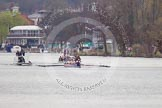 The Women's Boat Race and Henley Boat Races 2014: The Lightweight Women's Boat Race - OUWLRCin the lead, followed by the umpire's launch and the press.. River Thames, Henley-on-Thames, Buckinghamshire, United Kingdom, on 30 March 2014 at 14:47, image #216