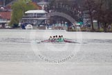 The Women's Boat Race and Henley Boat Races 2014: The Lightweight Women's Boat Race - the CUWBC Lightweights are slightly behind.. River Thames, Henley-on-Thames, Buckinghamshire, United Kingdom, on 30 March 2014 at 14:48, image #217