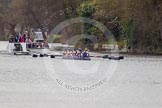 The Women's Boat Race and Henley Boat Races 2014: The Lightweight Women's Boat Race - OUWLRC in the lead, followed by the umpire's launch and the press.. River Thames, Henley-on-Thames, Buckinghamshire, United Kingdom, on 30 March 2014 at 14:48, image #218