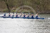 The Women's Boat Race and Henley Boat Races 2014: The Lightweight Women's Boat Race - OUWLRC in the lead: Bow Sophie Tomlinson, 2 Kirstin Rilham, 3 Rebecca Lane, 4 Nicky Huskens, 5 Sophie Philbrick, 6 Zoe Cooper-Sutton, 7 Emma Clifton, stroke  Suzanne Cole, cox  Lea Carrot.. River Thames, Henley-on-Thames, Buckinghamshire, United Kingdom, on 30 March 2014 at 14:48, image #225