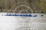The Women's Boat Race and Henley Boat Races 2014: The Lightweight Women's Boat Race - OUWLRC in the lead: Bow Sophie Tomlinson, 2 Kirstin Rilham, 3 Rebecca Lane, 4 Nicky Huskens, 5 Sophie Philbrick, 6 Zoe Cooper-Sutton, 7 Emma Clifton, stroke  Suzanne Cole, cox  Lea Carrot.. River Thames, Henley-on-Thames, Buckinghamshire, United Kingdom, on 30 March 2014 at 14:49, image #226