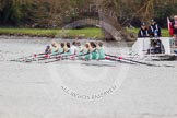 The Women's Boat Race and Henley Boat Races 2014: The Lightweight Women's Boat Race - the CUWBC Lightweights are slightly behind. On the right the umpire's launch with a TV cameraman in front.. River Thames, Henley-on-Thames, Buckinghamshire, United Kingdom, on 30 March 2014 at 14:48, image #224