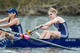 The Women's Boat Race and Henley Boat Races 2014: The OUWLRC boat in the lead - 2 seat Kirstin Rilham, at bow  Sophie Tomlinson.. River Thames, Henley-on-Thames, Buckinghamshire, United Kingdom, on 30 March 2014 at 14:49, image #229