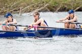 The Women's Boat Race and Henley Boat Races 2014: The OUWLRC boat in the lead - 6 seat Zoe Cooper-Sutton, 5 Sophie Philbrick, 4  Nicky Huskens.. River Thames, Henley-on-Thames, Buckinghamshire, United Kingdom, on 30 March 2014 at 14:49, image #231