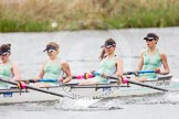 The Women's Boat Race and Henley Boat Races 2014: The CUWBC Lightweights boat with 4 Eve Edwards, 3 Lottie Meggit, 2 Christina Ostacchini, bow  Clare Hall.. River Thames, Henley-on-Thames, Buckinghamshire, United Kingdom, on 30 March 2014 at 14:49, image #236