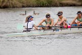 The Women's Boat Race and Henley Boat Races 2014: The CUWBC Lightweights boat with cox Priya Cosby, stroke Jilly Tovey, 7 Fiona Macklin, 6 Ella Barnard.. River Thames, Henley-on-Thames, Buckinghamshire, United Kingdom, on 30 March 2014 at 14:49, image #240