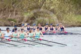 The Women's Boat Race and Henley Boat Races 2014: The Lightweight Women's Boat Race - OUWLRC are still in the lead, but the CUWBC Lightweights have reduced the distance.. River Thames, Henley-on-Thames, Buckinghamshire, United Kingdom, on 30 March 2014 at 14:49, image #242