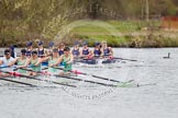 The Women's Boat Race and Henley Boat Races 2014: The Lightweight Women's Boat Race - OUWLRC are still in the lead, but the CUWBC Lightweights have reduced the distance.. River Thames, Henley-on-Thames, Buckinghamshire, United Kingdom, on 30 March 2014 at 14:49, image #243