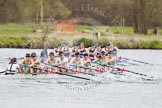 The Women's Boat Race and Henley Boat Races 2014: The Lightweight Women's Boat Race - OUWLRC are still in the lead, but the CUWBC Lightweights have reduced the distance.. River Thames, Henley-on-Thames, Buckinghamshire, United Kingdom, on 30 March 2014 at 14:49, image #244