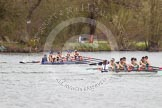 The Women's Boat Race and Henley Boat Races 2014: The Lightweight Women's Boat Race - OUWLRC are still in the lead, but the CUWBC Lightweights have reduced the distance.. River Thames, Henley-on-Thames, Buckinghamshire, United Kingdom, on 30 March 2014 at 14:50, image #245