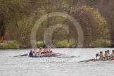 The Women's Boat Race and Henley Boat Races 2014: The Lightweight Women's Boat Race - OUWLRC are still in the lead, but the CUWBC Lightweights are getting closer.. River Thames, Henley-on-Thames, Buckinghamshire, United Kingdom, on 30 March 2014 at 14:50, image #246