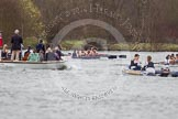 The Women's Boat Race and Henley Boat Races 2014: The Lightweight Women's Boat Race - OUWLRC and CUWBC Lightweights are approaching the finish line, followed by the press launch.. River Thames, Henley-on-Thames, Buckinghamshire, United Kingdom, on 30 March 2014 at 14:50, image #247