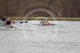 The Women's Boat Race and Henley Boat Races 2014: The Lightweight Women's Boat Race - OUWLRC and CUWBC Lightweights are approaching the finish line, followed by the press launch.. River Thames, Henley-on-Thames, Buckinghamshire, United Kingdom, on 30 March 2014 at 14:50, image #248