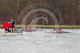 The Women's Boat Race and Henley Boat Races 2014: The Lightweight Women's Boat Race - OUWLRC and CUWBC Lightweights after passing the finish line, followed by the press launch.. River Thames, Henley-on-Thames, Buckinghamshire, United Kingdom, on 30 March 2014 at 14:50, image #249
