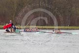 The Women's Boat Race and Henley Boat Races 2014: The Lightweight Women's Boat Race - OUWLRC and CUWBC Lightweights after passing the finish line, followed by the press launch.. River Thames, Henley-on-Thames, Buckinghamshire, United Kingdom, on 30 March 2014 at 14:50, image #250