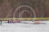 The Women's Boat Race and Henley Boat Races 2014: The Lightweight Women's Boat Race - OUWLRC and CUWBC Lightweights after passing the finish line.. River Thames, Henley-on-Thames, Buckinghamshire, United Kingdom, on 30 March 2014 at 14:50, image #251