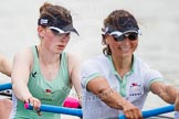 The Women's Boat Race and Henley Boat Races 2014: After the Lightweight Women's Boat Race, the CUWBC Lightweights on the way back, here, in the 4 seat, Eve Edwards, and 5 Valentina Futoryanova.. River Thames, Henley-on-Thames, Buckinghamshire, United Kingdom, on 30 March 2014 at 14:57, image #256