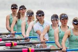 The Women's Boat Race and Henley Boat Races 2014: After the Lightweight Women's Boat Race, the CUWBC Lightweights on the way back:  Bow Clare Hall, 2 Christina Ostacchini, 3 Lottie Meggit, 4 Eve Edwards, 5 Valentina Futoryanova, 6 Ella Barnard, 7 Fiona Macklin, stroke Jilly Tovey.. River Thames, Henley-on-Thames, Buckinghamshire, United Kingdom, on 30 March 2014 at 14:57, image #261