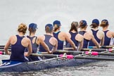 The Women's Boat Race and Henley Boat Races 2014: After the Lightweight Women's Boat Race, the OUWLRC boat on the way back.. River Thames, Henley-on-Thames, Buckinghamshire, United Kingdom, on 30 March 2014 at 14:57, image #262