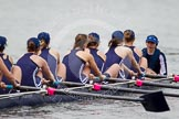 The Women's Boat Race and Henley Boat Races 2014: After the Lightweight Women's Boat Race, the OUWLRC boat on the way back: Bow Sophie Tomlinson, 2 Kirstin Rilham, 3 Rebecca Lane, 4 Nicky Huskens, 5 Sophie Philbrick, 6 Zoe Cooper-Sutton, 7 Emma Clifton, stroke  Suzanne Cole, cox  Lea Carrot.. River Thames, Henley-on-Thames, Buckinghamshire, United Kingdom, on 30 March 2014 at 14:57, image #263