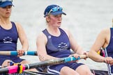 The Women's Boat Race and Henley Boat Races 2014: After the Lightweight Women's Boat Race, the OUWLRC boat on the way back: In the 2 seat Kirstin Rilham, 3 Rebecca Lane.. River Thames, Henley-on-Thames, Buckinghamshire, United Kingdom, on 30 March 2014 at 14:57, image #267