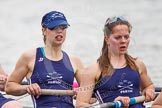 The Women's Boat Race and Henley Boat Races 2014: After the Lightweight Women's Boat Race, the OUWLRC boat on the way back: In the 4 seat Nicky Huskens, 5 Sophie Philbrick.. River Thames, Henley-on-Thames, Buckinghamshire, United Kingdom, on 30 March 2014 at 14:58, image #270