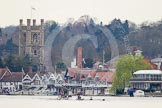 The Women's Boat Race and Henley Boat Races 2014: The start of the Newton Women's Boat Race at Henley. Oxford is on the right (Bucks) side, following the boats is the umpire's launch and, on the left, a press launch.. River Thames, Henley-on-Thames, Buckinghamshire, United Kingdom, on 30 March 2014 at 15:12, image #280