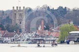 The Women's Boat Race and Henley Boat Races 2014: The start of the Newton Women's Boat Race at Henley. Oxford is on the right (Bucks) side, following the boats is the umpire's launch and, on the right, a press launch.. River Thames, Henley-on-Thames, Buckinghamshire, United Kingdom, on 30 March 2014 at 15:12, image #281