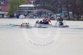 The Women's Boat Race and Henley Boat Races 2014: The Newton Women's Boat Race: The Cambridge Eight is followed by the press launch and the umpire's boat with a TV cameraman at the front.. River Thames, Henley-on-Thames, Buckinghamshire, United Kingdom, on 30 March 2014 at 15:13, image #284