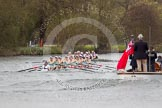 The Women's Boat Race and Henley Boat Races 2014: The Newton Women's Boat Race - Oxford is winning the race. In front the press launch.. River Thames, Henley-on-Thames, Buckinghamshire, United Kingdom, on 30 March 2014 at 15:15, image #317